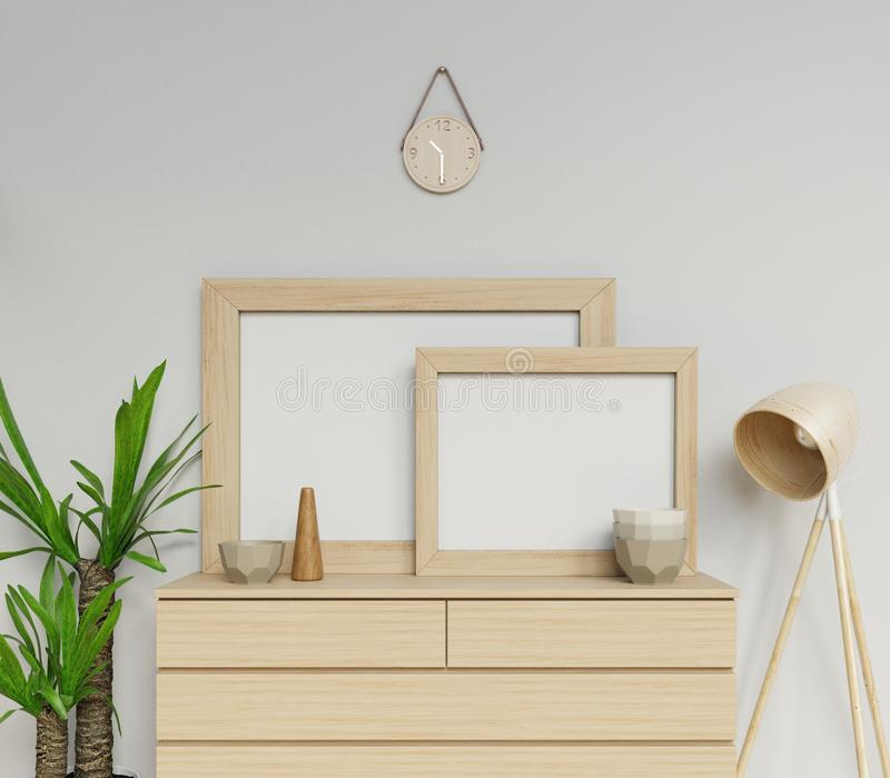 3d rendem zombaria vazia do cartaz do tamanho a1 e a2 escandinavo do interior da casa dois acima com o quadro de madeira que sent ilustração do vetor