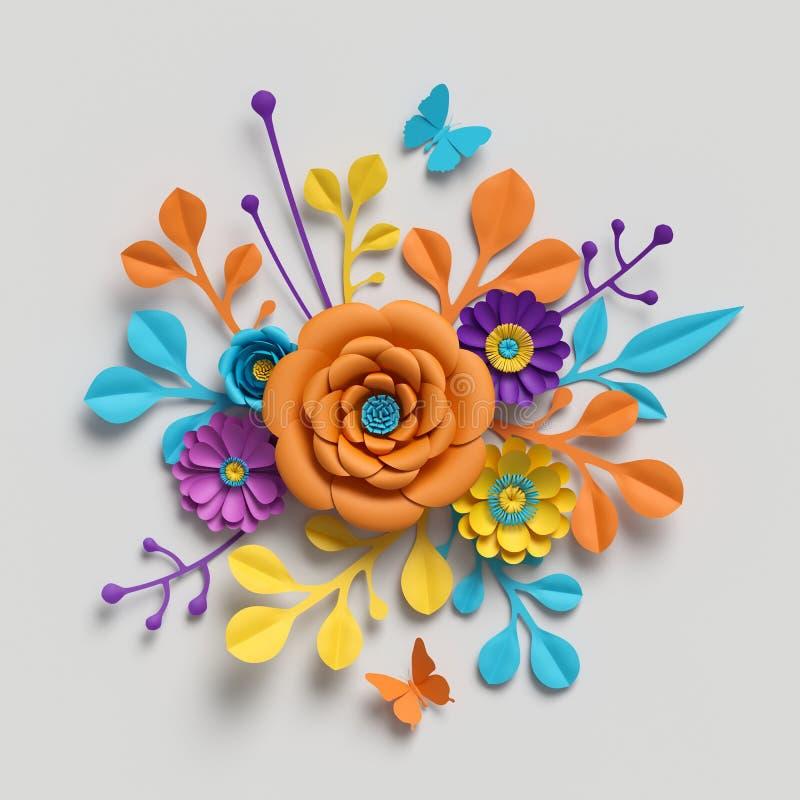3d rendent, bouquet de fleurs de papier, fond botanique, clipart (images graphiques) d'isolement, bouquet rond, arrangement flora photographie stock libre de droits