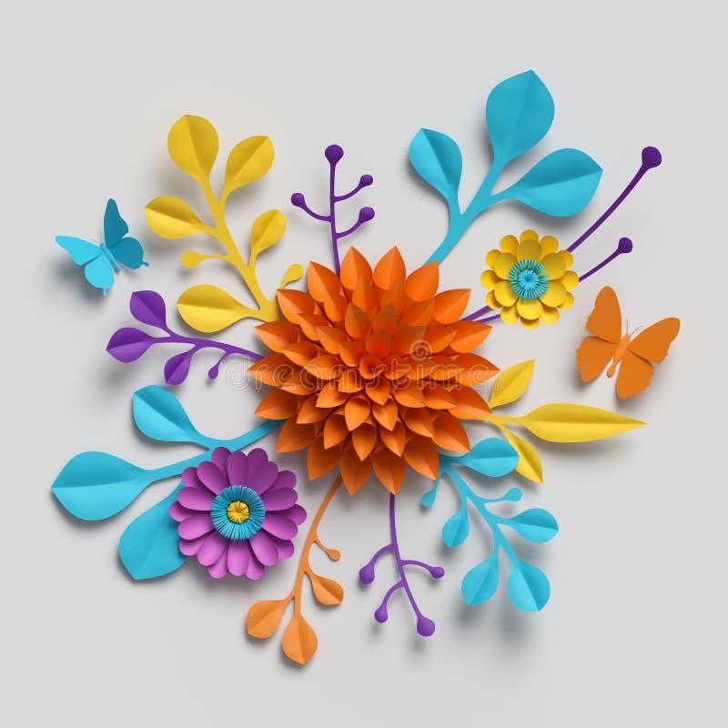 3d rendent, bouquet de fleurs de papier, fond botanique, clipart (images graphiques) d'isolement, bouquet rond, arrangement flora photographie stock