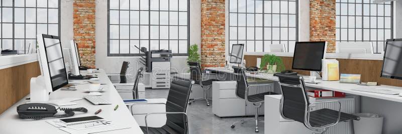 3d rendent - bureau ouvert de plan - l'immeuble de bureaux - panorama illustration libre de droits