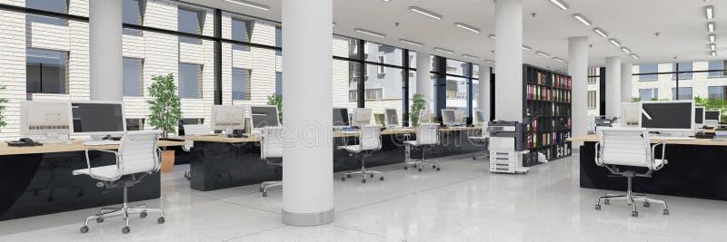 3d rendent - bureau ouvert de plan - l'immeuble de bureaux - panorama illustration stock