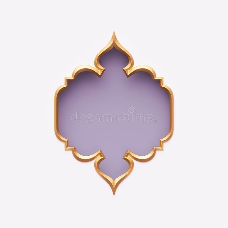 3d rendent, cadre arabe d'or, forme fleurie, conception violet-clair, lilas, tribale d'arabesque, bannière vide, calibre de carte illustration de vecteur