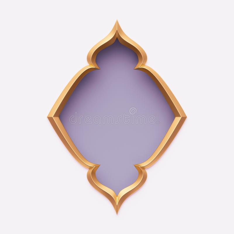 3d rendent, cadre arabe d'or, forme fleurie, violet-clair, lilas, conception d'arabesque, bannière vide, calibre de fête de carte illustration de vecteur