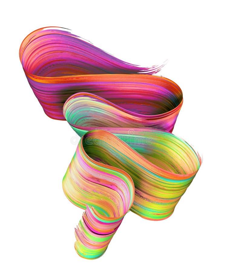 3d rendent, course abstraite de brosse, calomnie au néon, ruban plié rouge jaune, texture de peinture, clipart (images graphiques illustration libre de droits