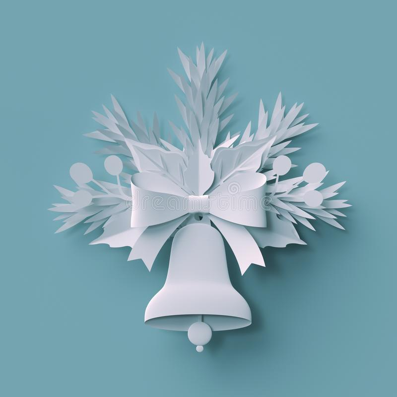 3d rendent, décoration de Noël, coupe de livre blanc, elemen de fête illustration de vecteur