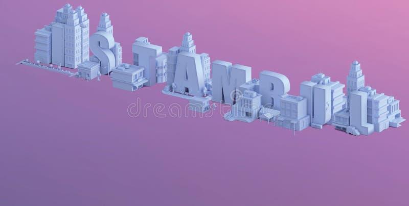 3d rendent d'une mini ville, la typographie 3d de l'istambul de nom illustration de vecteur