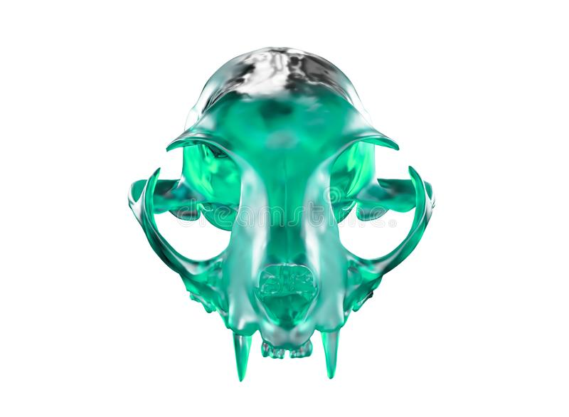 3D rendent de Cat Skull cristal verte ont isolé sur le fond blanc illustration de vecteur