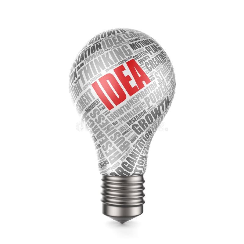3d rendent de l'ampoule avec le nuage de mot - concept d'idée illustration libre de droits