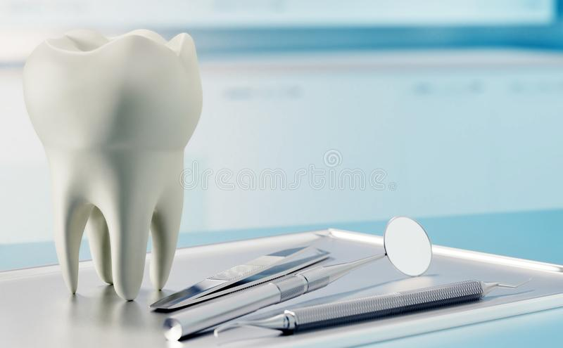 3D rendent de la dent humaine et de l'équipement dentaire dans la chambre de consultation photo libre de droits
