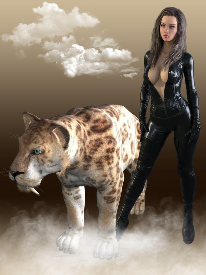 3D rendent de la femme avec le tigre de sabertooth illustration libre de droits