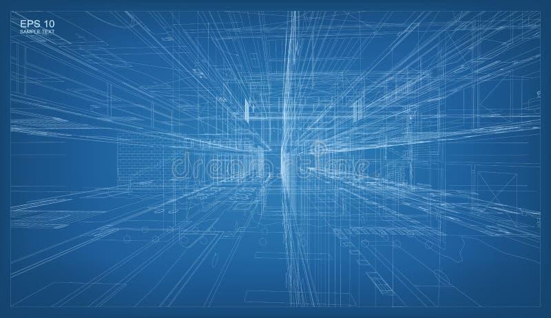 3D rendent de la structure de wireframe de bâtiment Vecteur architectural illustration de vecteur