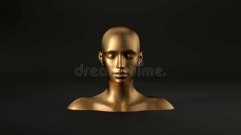 3d rendent de la tête femelle de mannequin de résumé sur le fond noir Femme de mode Visage humain d'or illustration stock