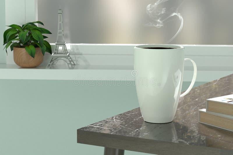 3d rendent de la tasse de café blanc détendent l'endroit illustration stock