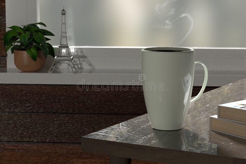 3d rendent de la tasse de café blanc pour détendre illustration libre de droits