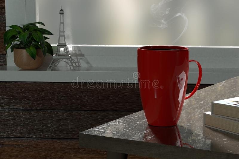3d rendent de la tasse de café rouge détendent l'endroit illustration de vecteur