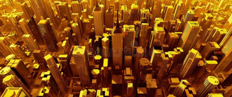 3D rendent de la ville pure d'or illustration libre de droits
