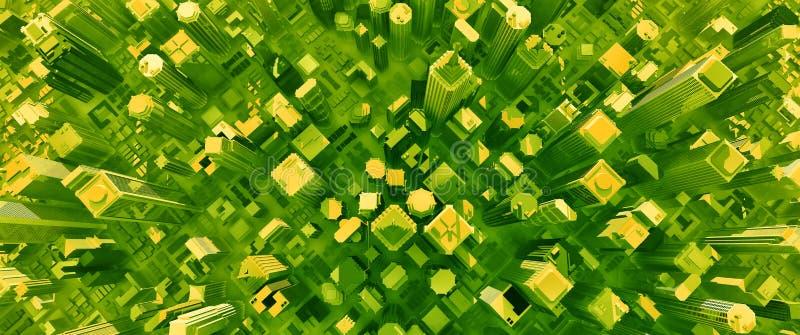 3D rendent de la ville toxique illustration de vecteur