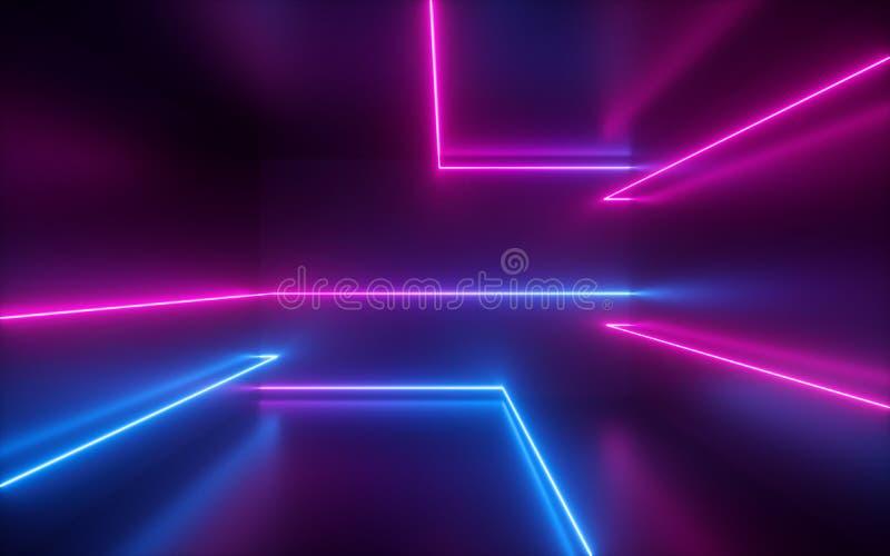 3d rendent, dentellent les lignes au néon bleues, formes géométriques, l'espace virtuel, la lumière UV, style des années 80, rétr photographie stock