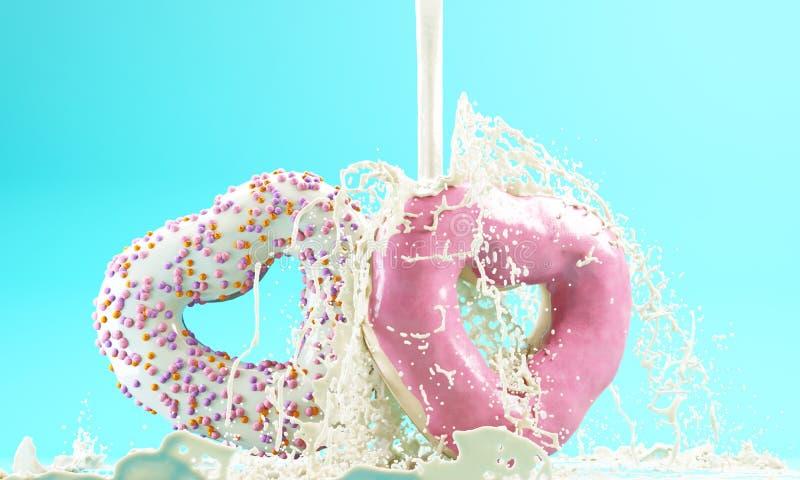 3d rendent des couples des butées toriques en forme de coeur sur le fond bleu et le lait renversé Concept du ` s de Valentine illustration de vecteur