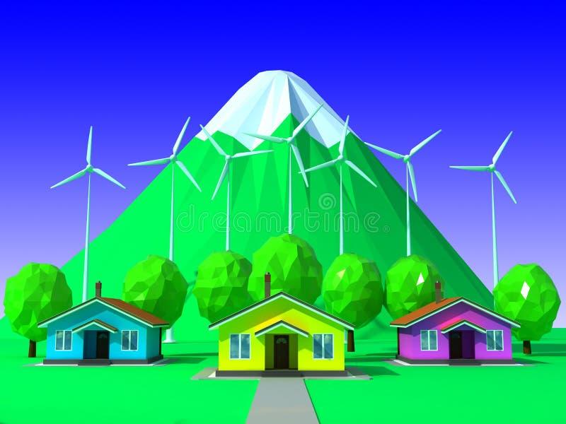 3d rendent des maisons avec des usines d'énergie éolienne illustration de vecteur