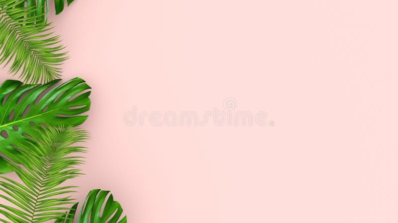 3D rendent des palmettes réalistes sur le fond rose pour l'illustration cosmétique d'annonce ou de mode Cadre tropical exotique illustration libre de droits