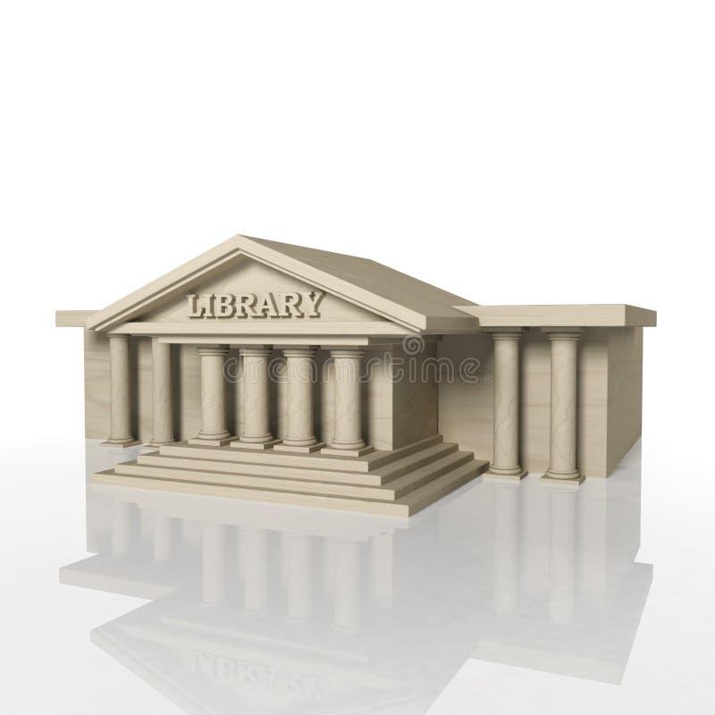 3D rendent du bâtiment de la bibliothèque avec la réflexion illustration libre de droits