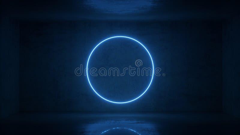 3d rendent du cadre au n?on de cercle sur le fond dans la chambre Conception de banni?re Retrowave, synthwave, illustration de va illustration de vecteur