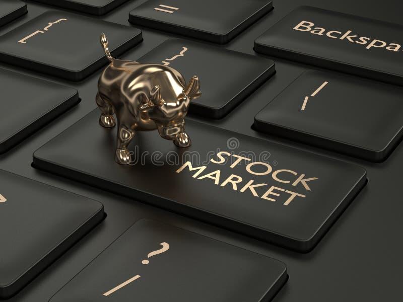 3d rendent du clavier avec le bouton de marché boursier illustration libre de droits