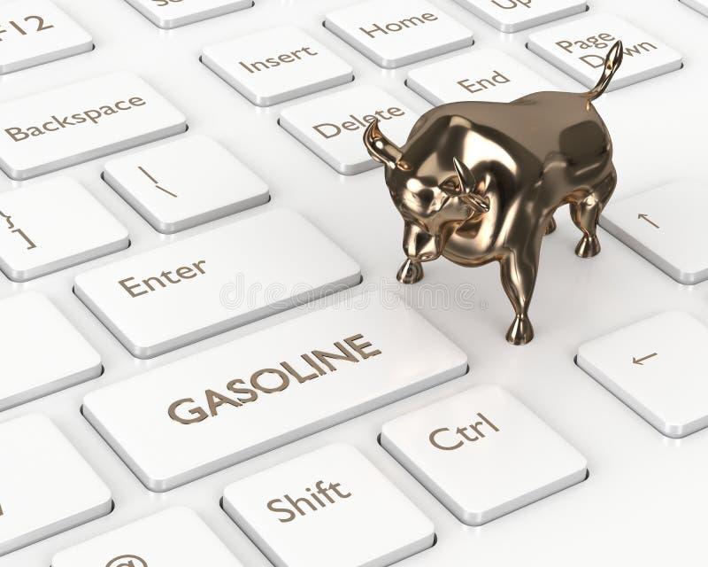 3d rendent du clavier avec le bouton et le taureau d'essence illustration de vecteur