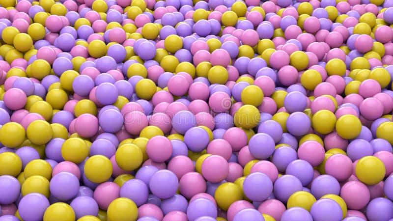 3d rendent du fond coloré abstrait de boules de sphères Formes primitives, conception minimalistic, décoration de partie illustration de vecteur