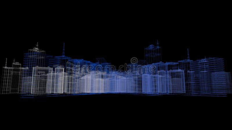 3D rendent du fond de ville de wireframe de bâtiment photos stock