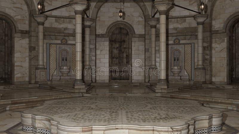 3D rendent du hammam 0001 d'intérieur images stock