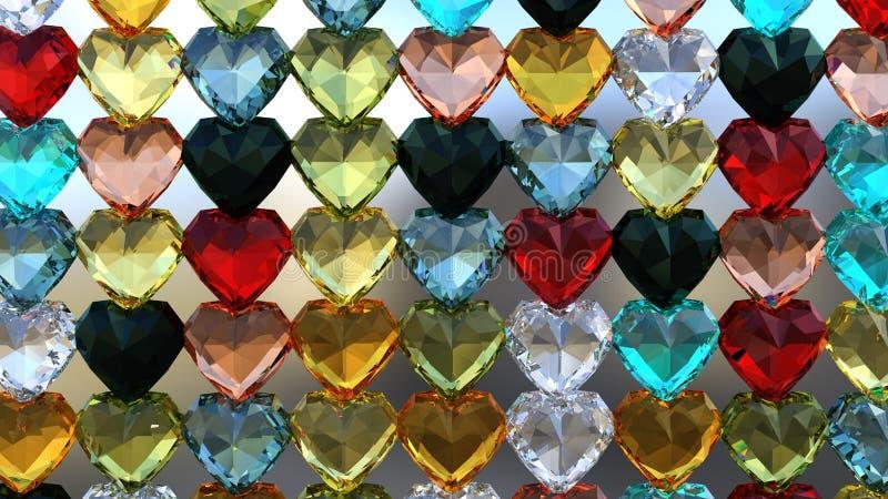 3D rendent du papier peint Gem Heart images libres de droits