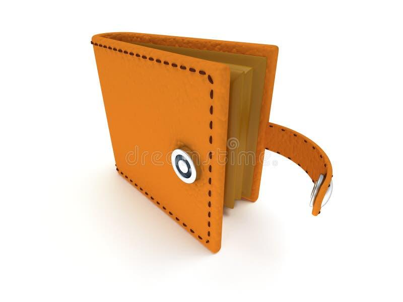3d rendent du portefeuille en cuir ouvert sur le blanc illustration stock