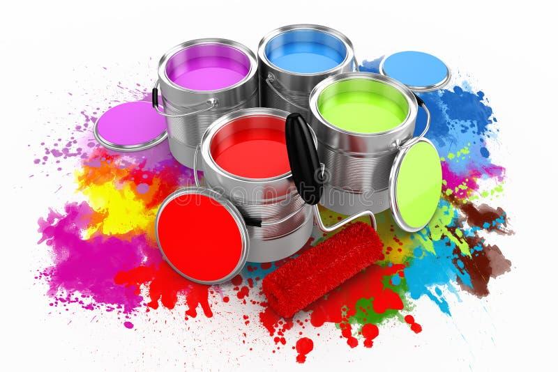 3d rendent du seau coloré de peinture illustration libre de droits