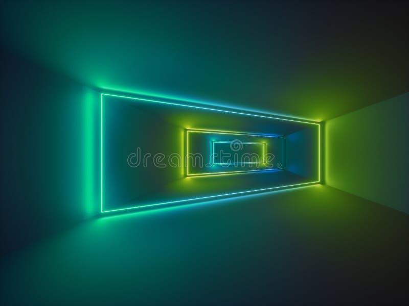 3d rendent, exposition de laser, lumières intérieures de boîte de nuit, lignes rougeoyantes vertes, fond fluorescent abstrait, pi illustration de vecteur