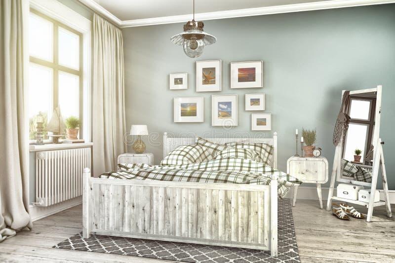 3d rendent - flatt maritime de vacances - la chambre à coucher illustration libre de droits