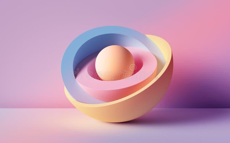 3d rendent, fond abstrait, boules au néon en pastel, formes géométriques primitives, maquette simple, éléments minimaux de concep illustration de vecteur