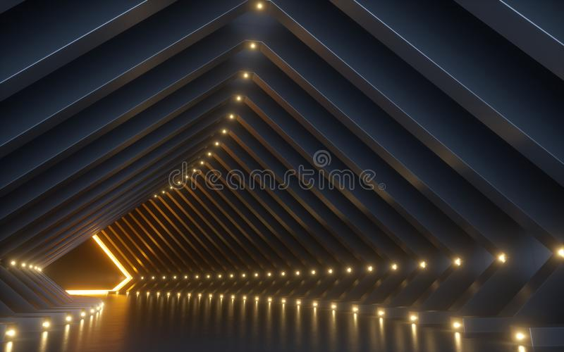 3d rendent, fond abstrait, couloir, tunnel, l'espace de réalité virtuelle, lampes au néon jaunes, podium de mode, intérieur de cl images stock