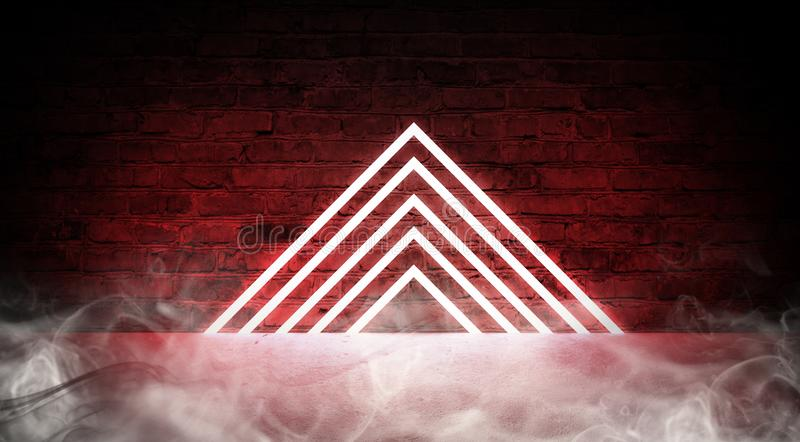 3d rendent, fond abstrait de mode, portail triangulaire au néon de rose bleu, lignes rougeoyantes images libres de droits