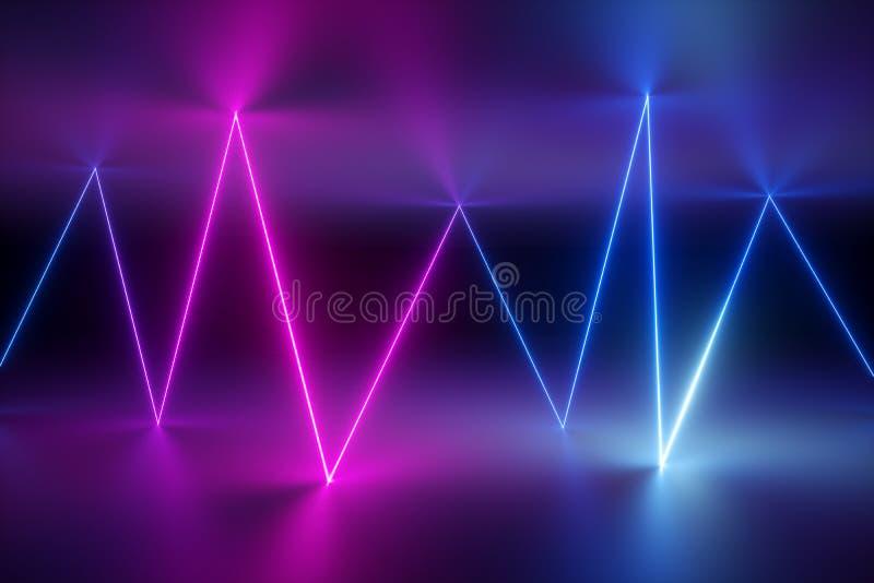 3d rendent, fond abstrait, lignes rougeoyantes, foudre, l'ultraviolet, lampes au néon, exposition de laser, réalité virtuelle, ra photos stock