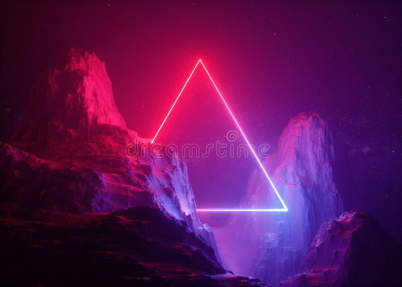 3d rendent, fond abstrait, paysage cosmique, portail triangulaire, lampe au néon bleue de rose, réalité virtuelle, source d'énerg illustration libre de droits