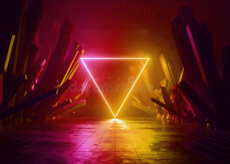 3d rendent, fond abstrait, paysage cosmique, portail triangulaire, lampe au néon rouge du feu rougeoyant, réalité virtuelle, éner illustration stock