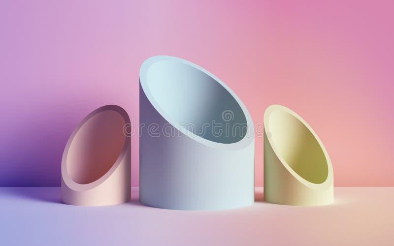 3d rendent, fond abstrait, tubes, formes géométriques primitives, palette de couleurs au néon en pastel, maquette simple, concept illustration stock