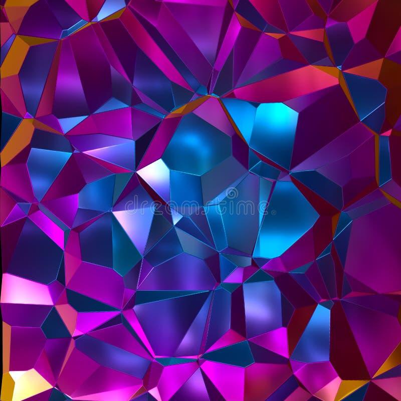 3d rendent, fond cristallisé abstrait, aluminium olographe chiffonné, texture métallique, réflexion, structure facettée polygonal images libres de droits