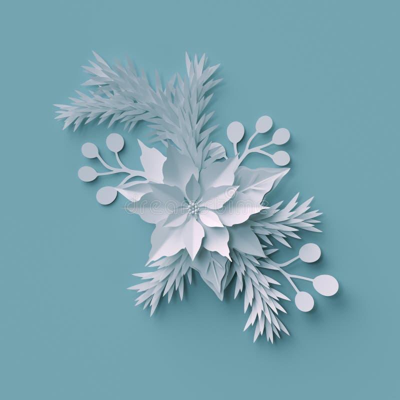3d rendent, fond de Noël, composition florale en livre blanc, illustration de vecteur