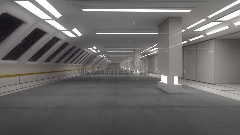 3d rendent Intérieur futuriste de vaisseau spatial illustration libre de droits