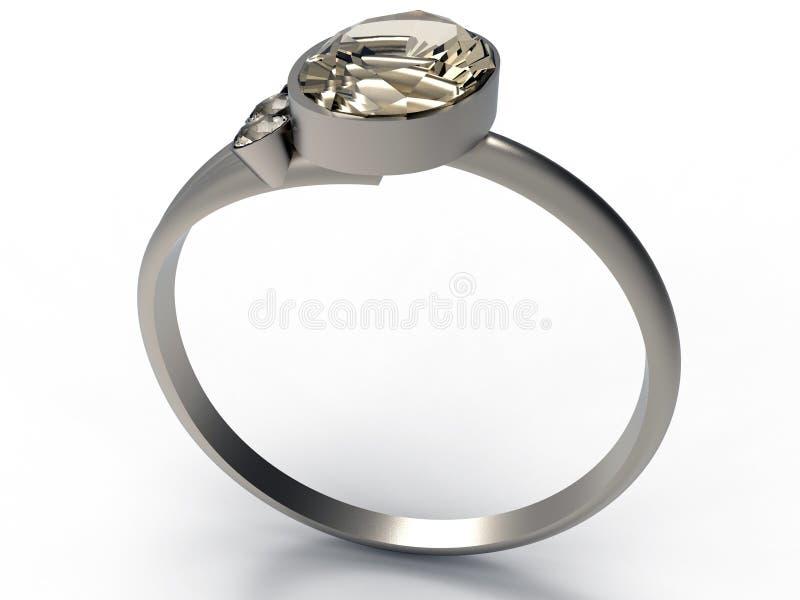 3D rendent - l'anneau argenté simple avec la gemme illustration stock