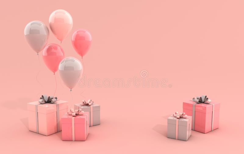 3d rendent l'illustration des ballons et du boîte-cadeau colorés réalistes avec l'arc sur le fond rose L'espace vide pour la part illustration libre de droits