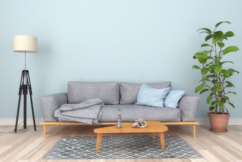 3d rendent - l'intérieur d'un salon scandinave avec un sofa illustration stock